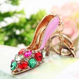 Wholesale high heel shoe pendants - Exquisite key ring with crystal high heeled shoes metal key chain hollow out key ring handbag accessories car pendant gift
