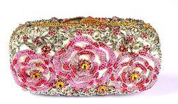 Дешевые сумки высокого качества онлайн- Designer Handbags for Women High Quality Australia Crystal Clutch Evening Bags Floral Brides Pink Clutch Bag for Cheap