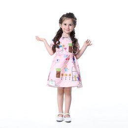 Wholesale Korean Girls Straight Dress - 2018 New Baby Girl Dress Short Sleeve Pink Dress Girl Lovely Floral Print Princess Dress Korean Style Kids Clothing Wholesales