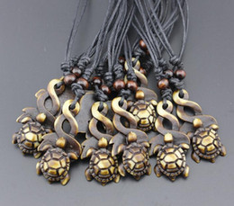 Wholesale Sea Turtle Necklace Pendant - Punk wind! Fashion men Sea turtle Pendant Necklace Imitation bone resin Wooden Bead Necklace You can adjust the size of the rope Necklace