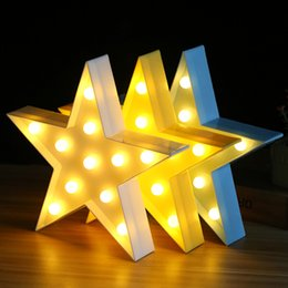 Wholesale 3d Sign Letters - 3D LED Star Butterfly Letters Plastic Lamp Light Crown Sign LED Light for Home Party Wedding Decoration Valentine's Day Gift