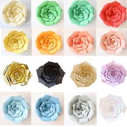 Décorations de mariage en papier en Ligne-2pcs / set fleurs en papier de bricolage fleurs artificielles de rose de mariage fenêtre décoration Artisanat Baby Shower fête d'anniversaire décorations pour la maison WX9-607