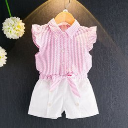 Wholesale Cute Buttons Wholesale - New Girls Shirt+Pants Suit Sleeveless Striped T-Shirt Bow Button-down Short Pants Cotton Blending Breathable Clothing Sets 1-9T