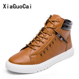 Wholesale Korean Men Fashion Black Boots - XiaGuoCai Man Casual PU Boots Ankle Zipper Lace-Up Round Toe flat Korean cozy Non-slip high quality Wild Stylish fashion YC452