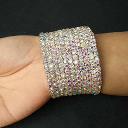 d74647ab4dd TDQUEEN 7-10 Rows Rhinestone Bangle Bracelet Silver Plated and Gold Color  Metal Sparkly AB Crystal Indian Bangles for Women