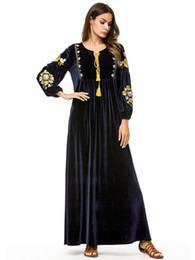 118c19179a4 2018 Winter Elegant Long Lantern Sleeve Floral Embroidery Maxi Christmas  Party Dresses Plus Size Loose Women Velvet Dress