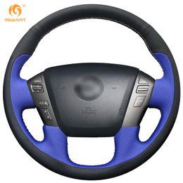 Wholesale car nissan patrol - MEWANT Black Blue Leather Car Steering Wheel Cover for Nissan Patrol 2011-2017 Infiniti QX56 2011-2013 Infiniti QX80 2013-2017