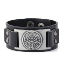 Pulseras de cuero árbol de la vida online-Viking Slavic Kolovrat Símbolo pulsera de cuero pulsera Vintage Tree Of Life accesorios pulseras hechas a mano brazaletes