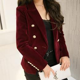 neue modekleidung für damen Rabatt New Spring Fashion Frauen Dunkelblau dünne Samt-Blazer-Jacken zweireihige Einfache Dame Blazer High Grade Kleidung