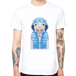 dfc8bac4ddf Blue Vest Pig Men s Soft Cotton Funny Cool T-shirts Short Sleeve Tops Tee  Short Sleeves Cotton Fashion Men Summer Style