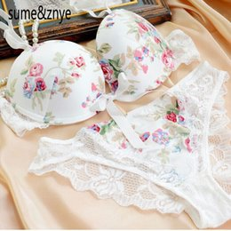 Wholesale Sexy Lingerie Lolita - Women Lingerie 2014 New Top Underwear Gold Purple Silk Print Sexy Satin Lace Bra And Panty 36 38 B C Bra 5 Colors Free Shipping