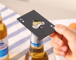 Bottiglia di birra in acciaio online-Apri di carte da poker in acciaio inox Apri di birra Strumenti bar Carta di credito Soda Apri tappo per bottiglia di birra Regali Utensili da cucina