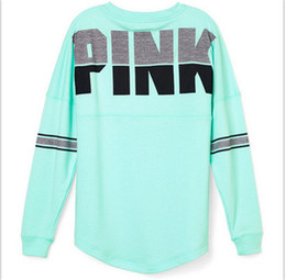 Wholesale plaid hoodie women - Fashion Pink Letter Sweatshirt T- shirts Women Long Sleeve Round Neck Shirt Love Pink Printed Hoodie T Shirts Sexy Tees Top Clothes