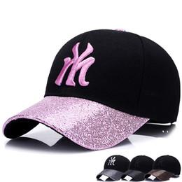 Wholesale Wholesale Women Bling Caps - Women Men Sequins Patchwork Casquette Caps Letter NY Fashion Sports Baseball Cap Hip Hop Style Bling Hats 6hd Z
