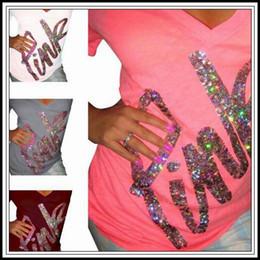 Wholesale wholesale bling tops - 4 Colors Love Pink Women T-shirt Rhinestone PINK Letter T-shirts Short Sleeve T-shirt V-neck Bling Diamond Summer Tops CCA9723 12pcs