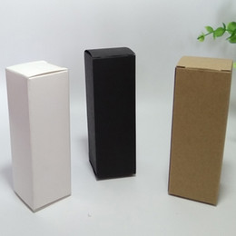 Wholesale Wholesale White Candle Boxes - 50pcs 4*4*12cm Brown White Black blank Kraft Paper Box for Cosmetic valves tubes Craft Candle Gift Packing Boxes