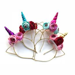 Wholesale Diy Kids Headbands - 2018 Kids Unicorn Horn Hairband Easter Bonus For Party DIY Hair Accessoriess floral Unicorn Headband Glitter Hairbands
