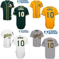 Wholesale Cheap Athletic Shirts - Cheap men Oakland Athletics Jersey 10 Marcus Semien Jersey White Yellow Green grey Shirt Authentic Baseball Jersey Stitched Size S-4XL