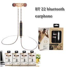 Wholesale Music Window - BT-22 BT 22 magnegic wireless bluetooth earphone v4.2 csr handfree inear hi-fi stereo sports headset music headphone with window box package