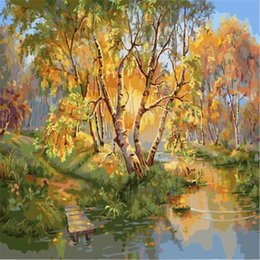 Wholesale Acrylic Painting Landscape - Tree Painting By Numbers DIY River Landscape Wall Pictures Coloring By Numbers On Canvas Abstract Drawing Acrylic New Gift