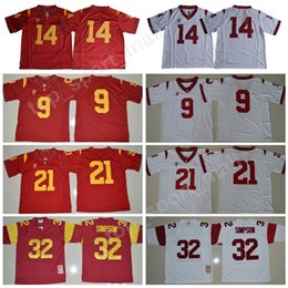 7a4644c8ca8 USC Trojans 9 JuJu Smith-Schuster Jersey Men College Football 14 Sam Darnold  21 Adoree Jackson 32 OJ Simpson Stitched Red White Size S-XXXL supplier usc  ...
