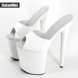 Wholesale exotic heels - jialuowei Women Slippers Sexy Fetich Exotic 20cm Extreme High Spike Heel +9cm Platform Shoes 2017 Summer White shiny Sandals