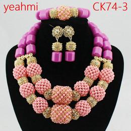 Wholesale costume jewelry pearl set - 2018 Hot Sale Nigerian Wedding African Beads Jewelry Set Necklace African Costume Bridal Jewelry Sets Free Shipping CK74-2