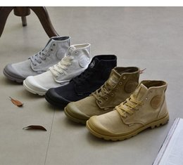 Wholesale Motorcycle Style Boots Women - 2018 Fashion Palladium Style Shoes Woman Martin Boots Brand Man Canvas Shoes Spring Retro Ankle-length Man Army Boots PU Leather