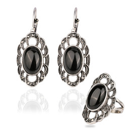 Wholesale Emerald Green Glass - Ring&Earring Jewelry Sets - Fashion Black Glass Sliver Plated 53~62cm Circumference Rings Alloy Gemstone Punk Dangle Chandelier