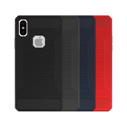 Wholesale Carbon Fibre Brush - TPU Back Cover Phone Case For iphone X 8 7 plus iphone 6 Phone Cases Carbon Fibre Drawing Brushed TPU Case