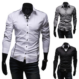 2019 elegante vestido caliente 2016 Camisas para hombres calientes Camisa de vestir de los hombres Camisas ocasionales de manga larga con estilo Slim Fit 3 colores Talla M - XXXL elegante vestido caliente baratos