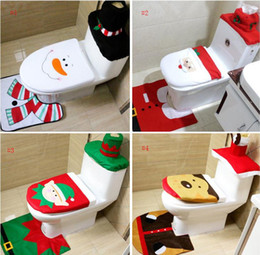 Canada Siège de toilette couvre de décoration de Noël 3 Morceau / Set Santa Elk Elf couvre de siège de toilette Tapis Salle de bain Ensemble Cadeau de Noël Fournitures SN577 Offre