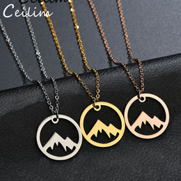 gift range Coupons - 1PCS Plant Tree Top Range Necklace In Circle Round Nature Landscape Mountains Are Calling Necklaces For Women Lover Wholesale