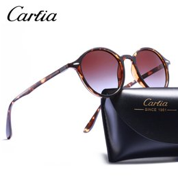 Wholesale Vintage Glasses Round - Polarized 4237 Brand Designer ray sunglasses for Women Men driving glasses UV400 Sport Vintage Round Sun glasses Retro Eyewear with cases