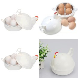 Wholesale steam device - Egg Steamer Chicken Shape Stainless Steel Microwave Oven 4 Eggs Boiled Tools Cooker Steaming Device Goods In Stock 9cd V