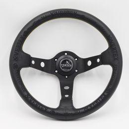 Ruedas negras online-Negro Vertex Racing volante 13 pulgadas 330 mm Rally Race Drift coche cuero volante