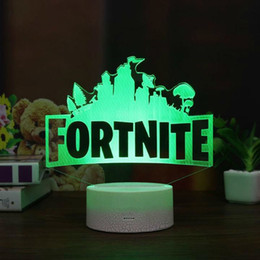 Wholesale color mood light - Fortnite 3D Table Lamp RGB Changeable Mood Lamp 7 Color Light Crack Pattern Base Cool Night Light Gift
