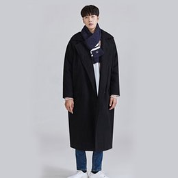 double breasted jacket green men Promo Codes - Men Autumn Winter Wool Trench Jacket Windbreaker Male Fashion Casual Loose Woolen Overcoat Double Breasted Long Coat Outerwear