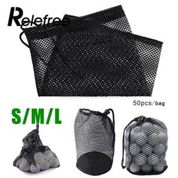 Wholesale net 25 - Relefree Sports Mesh Net Bag Golf Tennis 12 25 50 Ball Carrying Drawstring Pouch W Bottom