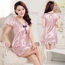 2b421c2687 2016 summer sexy silk nightgown sleepshirts women short sleeves plus  sleepwear lounge casual satin silky nightwear female dress