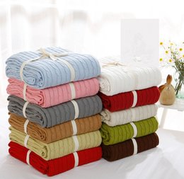Wholesale white knitted throw - Knitted Blanket 110*180cm Office Nap Throw Sleeping Quilt Soft Bedding Blankets Newborn Baby Swaddle Wrap 10pcs OOA4571