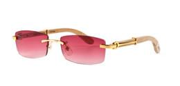 Wholesale Red Eye Lenses - New arrival 2018 brand sunglasses for men women buffalo horn glasses rimless designer bamboo wood sunglasses with box case lunettes