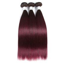 Grade vermelha do cabelo do ombre on-line-Grau 10A Pré-Colorida 3 Pacotes Ombre Brasileira Tecer Cabelo Weave Bundles 1b / 99j Cor Vermelha Remy Extensão Do Cabelo