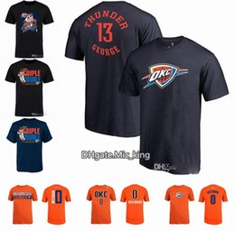 Wholesale George T Shirt - Russell Westbrook 2018 MVP Triple Double T-Shirt Oklahoma City any Name & Number thunder 13 george T-Shirt Hot Sale