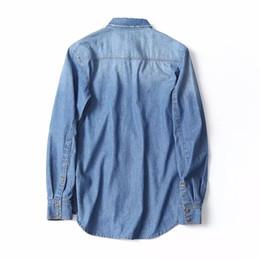 Wholesale Cotton Denim Shirts Men - 2018 Spring New Men Fashion Slim Longsleeve Jeans Shirt High quality Man Brand Casual Buiness Denim Camisa Man Outwear Solid Shirt AB4680