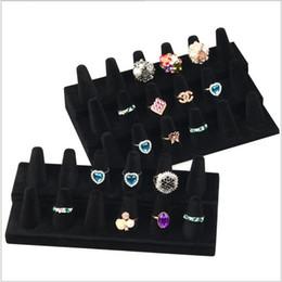 Wholesale Resin Counter - Lanolin 12 Finger Black Velvet Ring Showcase Counter Top Display Jewelry Holder Resin flocking to show 18 fingers show frame
