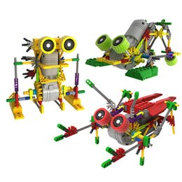 Wholesale Building Blocks Electric Toy - Creative DIY Assemblage Electric Motor Robots Models & Building Toys Hobbies Children Educational Gear Blocks For Boys