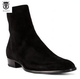 Argentina 2018 Nuevos botines de ante de cuero con cremallera Chelsea Boots ante de gamuza negra Botines de hombre Zapatos de fiesta de moda vintage cheap zip up shoes Suministro