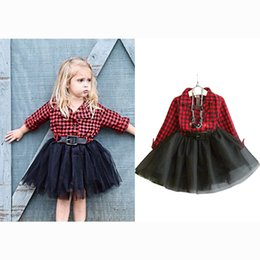 Vestito giù ragazza online-Autumn Plaid Girls Dress Princess Stitching Mesh Ball Gown Dress per bambini Bambini Turn-down Collar Abiti vestiti