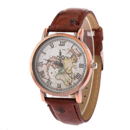 Wholesale Map Watches - Luxury Men Automatic Watch Women High-Quality Designer Watches Map Simple Digital Wristwatche General Fashion Vintage Pu Belt Watch Box